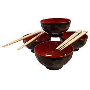Amazon.com | 4 Set of Traditional Japanese Black & Red