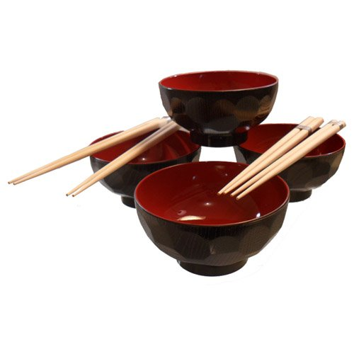 4 Set of Traditional Japanese Black & Red Rice Bowl Set with Chopstick ()