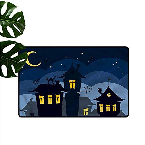 DUCKIL Outdoor Door mat Halloween Cartoon Town with Cat Country Home Decor W35 xL47