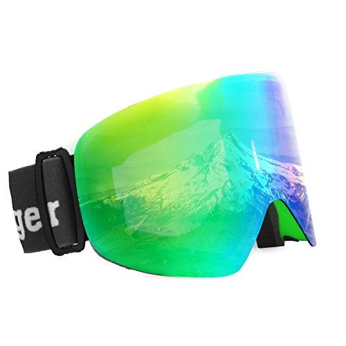 Unigear OTG Ski Goggles, Over Glasses Snowboard Snow Cylindrical Anti-fog Goggles for Men & Women with Interchangeable lens and 100% UV400 Protection, Portable Box - Oakleys Camo Pink
