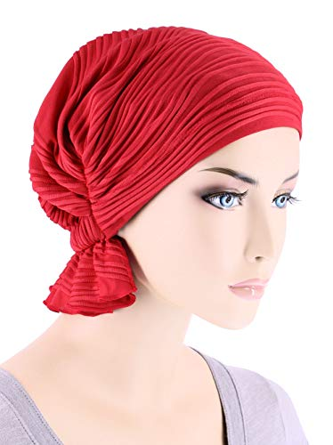 Fashion Scarf Tied (Abbey Cap Womens Chemo Hat Beanie Scarf Turban Headwear for Cancer Blended Knit Wave Red)