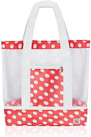 Beach Tote Bag with Mesh Top and Insulated Picnic Cooler Compartment Coral White