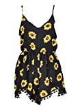 Lanzom® Women Summer Vintage V Neck Straps Sunflower Print Romper Jumpsuit (Medium)
