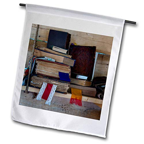 - 3dRose Alexis Photography - Still-Life - Pile of Vintage Books with Textile bookmarkers on a Wooden Shelf - 18 x 27 inch Garden Flag (fl_304554_2)