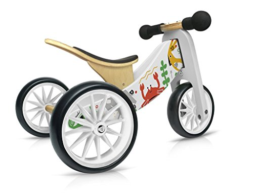 Kinderfeets TinyTot MakiiWooden Balance Bike and Tricycle in 1 - ages 12-24 months., White Finish]()
