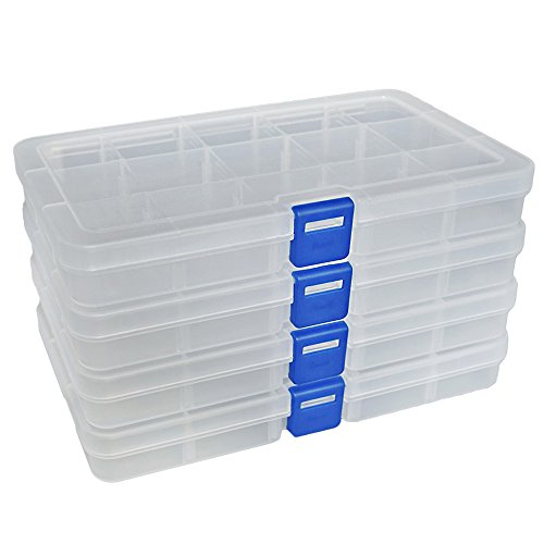 DuoFire Plastic Organizer Container Storage Box Adjustable Divider Removable Grid Compartment for Jewelry Beads Earring Container Tool Fishing Hook Small Accessories (15 grids, White X 4)