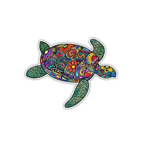 Sea Turtle Sticker Colorful Flower Decal by Megan J Designs - Laptop Window Car Vinyl Sticker