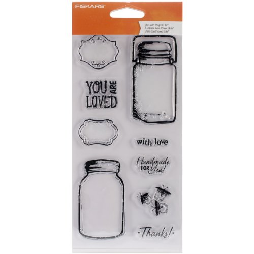 Fiskars 104240-1001 Clear Stamps, 4 by 8-Inch, Vintage Jars