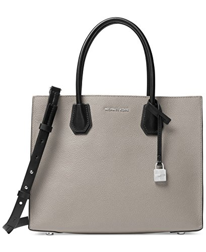 MICHAEL Michael Kors Women's Large Mercer Convertible Tote, Pale Grey/Optic/Black, One Size by MICHAEL Michael Kors