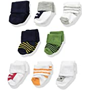 Luvable Friends Baby 8 Pack Newborn Socks, Boy Athletic, 6-12 Months