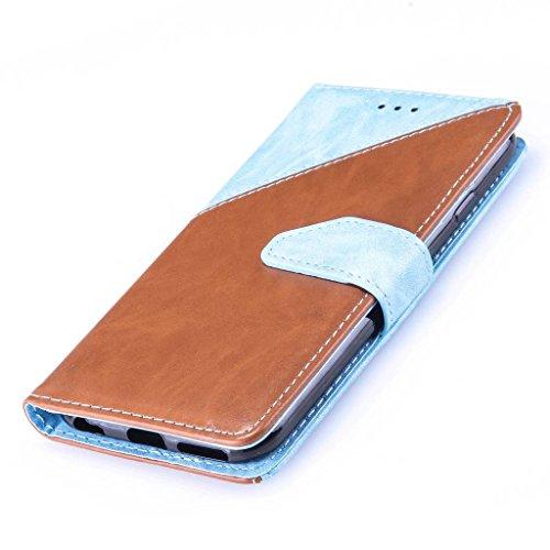 Uming® Patrón Especial de la serie de impresión colorida caja de la PU de la pistolera Caso Holster case ( Hit color Beige & Brown - para IPhone 5S 5 5G SE IPhone5S IPhoneSE ) de cuero artificial del  Hit color Blue & Brown