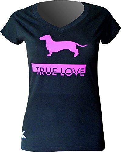 T-SHIRT HUNDE FRAUEN TECKEL - Sausage dog TRUE LOVE EKEKO, KURZEN HÜLSEN, 100% Baumwolle (XL, SCHWARZ / PINK DETAILS)