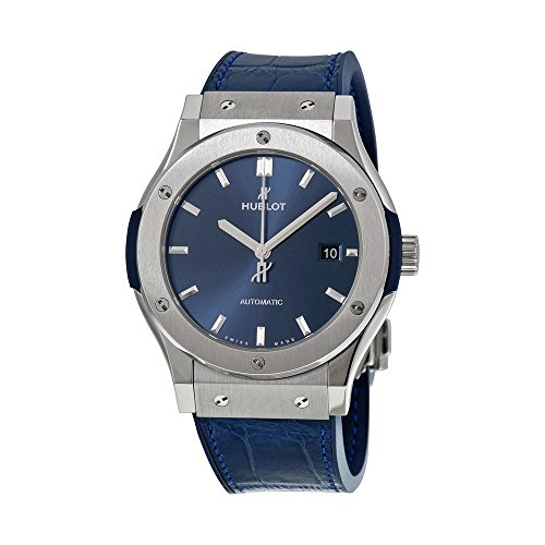 Hublot Classic Fusion Automatic Blue Sunray Dial Blue Leather Mens Watch 542.NX.7170.LR