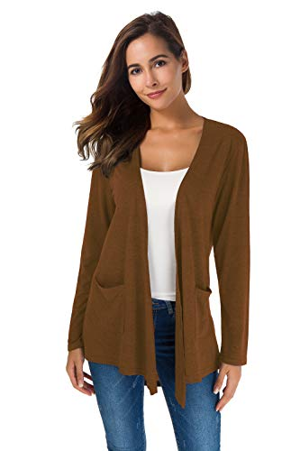 TownCat Women's Loose Casual Long Sleeved Open Front Breathable Cardigans with Pocket (Brown, M)