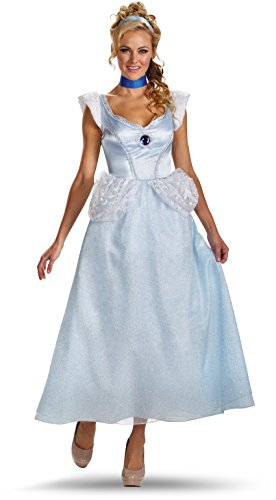 Disney Princess Fancy Dress Costumes Adults (Disguise Disney Cinderella Adult Deluxe Costume, Light Blue/White, X-Large/18-20)