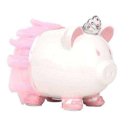 FAB Starpoint Swarovski with Crown Princess Porcelain Piggy Bank for Kids (Pink)