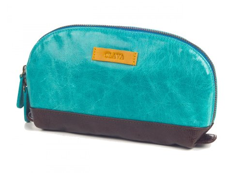 Clava Leather Glazed - Clava Glazed Leather Accessory Pouch - Glazed Aqua w/Yellow