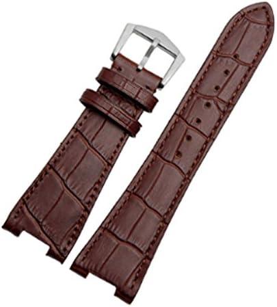 [Richie Strap] 腕時計ベルト 腕時計バンド 替えストラップ 社外品 型押し 汎用レザーベルト 革ベルト 取付幅25mm 適用: Patek Philippe パテック・フィリップ [5711/5712] (尾錠)バックル (ブラウン (シルバーバックル))