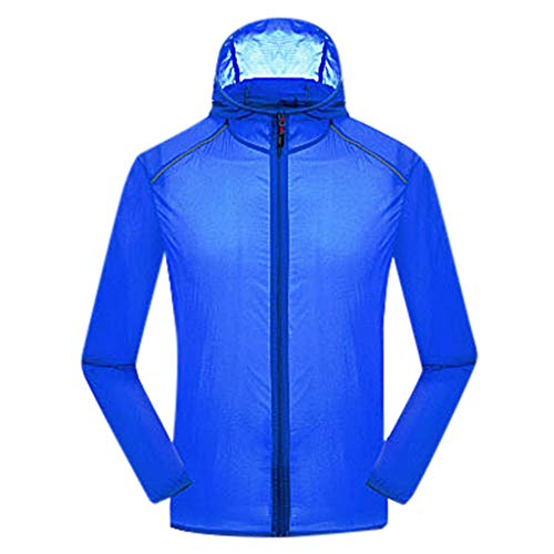Pongfunsy Mens Windproof Outdoors Cycling Jackets with Hoodie Bike Reflective Rain Jacket Long Sleeve Bicycle Wind Coat Blue