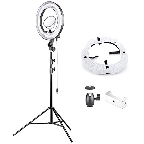Neewer 18-inch Outer 14-inch Inner 75W Dimmable Fluorescent Ring Light Lighting Kit with 8-inch Mirror,Light Stand,Phone Holder,Diffuser for Makeup Selfie Portrait Photography YouTube Video Shooting by Neewer