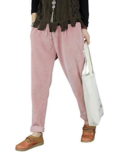Minibee Women's Casual Corduroy Pants Comfy Pull on Elastic Waist Trousers Drawstring Cotton Pants Pink S