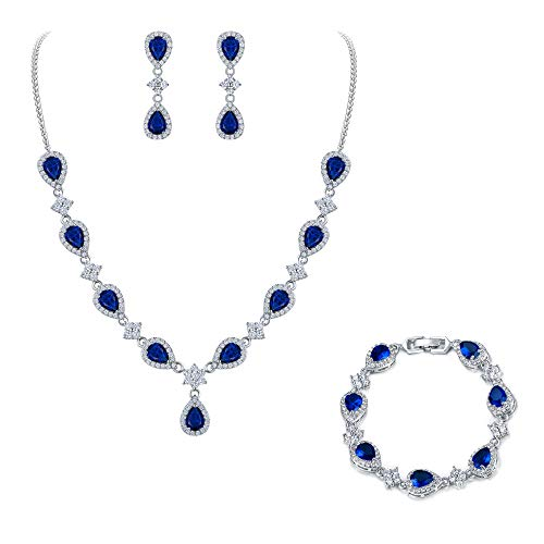 EleQueen Women's Silver-Tone Cubic Zirconia Teardrop Flower Bridal V-Necklace Set Tennis Bracelet Dangle Earrings Sapphire Color