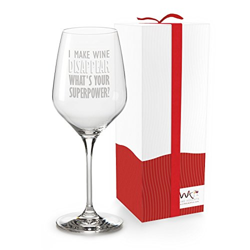 Funny Gift-able 18.5 oz Wine Glass in a Ready-to-Gift Box, 'I Make Wine Disappear. What's Your Superpower?' for Christmas, Birthdays, Mother's Day, Father's Day, BFFs, more (Fathers Day Wine Gifts)