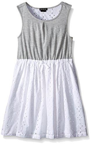 (Calvin Klein Little Girls' Toddler Stretch Jersey Dress with Poplin Eyelet Skirt, Gray,)