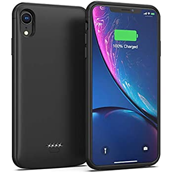 6.1 inch Display Black Premium Full Protection Battery Case Compatible with iPhone XR 4000 mAh Extra Battery Power Thin Slim with Smart Invisible Stander