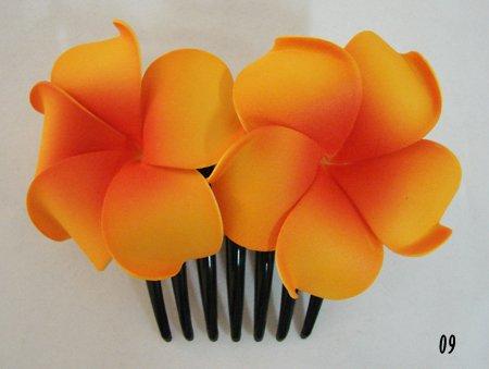 Hawaiian Plumeria Foam Flower Hair Comb (09 Orange) (Plumeria Hair Comb)