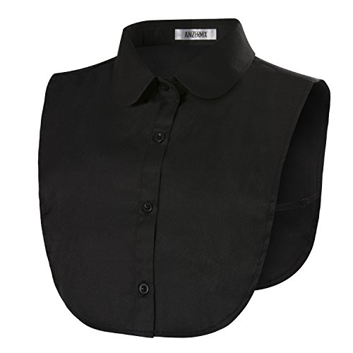 (ANZERMIX Round Fake Collar Detachable Dickey Blouse Half Shirts (Black One Size))