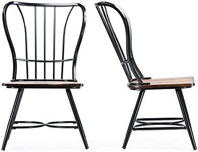 Baxton Studio Longford Dark-Walnut Wood and Black Metal Vintage Industrial Dining Chair Set of 2
