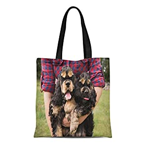 Semtomn Cotton Canvas Tote Bag Brown American Cocker Spaniel Dog Are Being Walked Reusable Shoulder Grocery Shopping Bags Handbag Printed 10