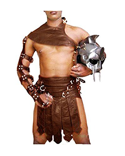 Brown Real Cow Leather Mens Roman Gladiator Kilt Set LARP - (K3-BRW) W36]()