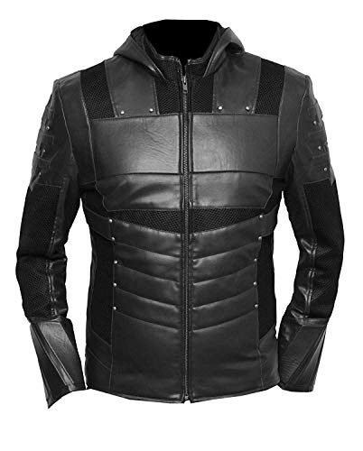 VearFit Green Arrow Superhero Comic Faux Leather Jacket for Men Black