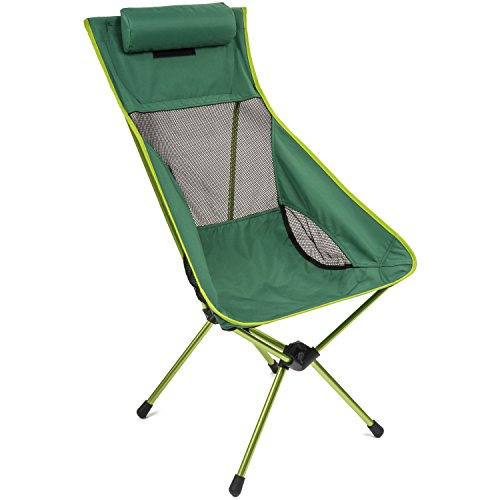 (Cascade Mountain Tech Outdoor High Back Lightweight Camp Chair with Headrest and Carry Case - Green)