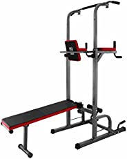 Popsport 330/440LBS Power Tower Station Series Multi-Station Power Tower Adjustable Height Dip-Station Workout