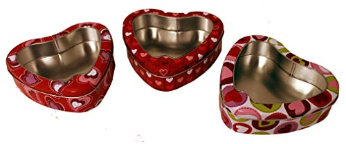 The Tin Box Company 287307-3DS Valentines Heart Shape Window Cookie Tins (Set of 3), Red - Heart Cookie Tin
