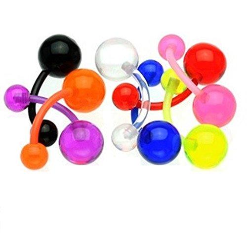 PiercedOff Lot de 9 piercing nombril bioflex boules acrylique
