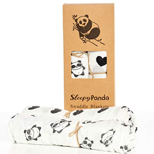 (Pandas and Hearts Luxurious Bamboo Receiving Blankets - 2 Swaddle Blankets)