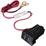 AUDEW 12/24V Black Car Dual USB Port Charge Adaptor Socket Dashboard Mount For TOYOTA