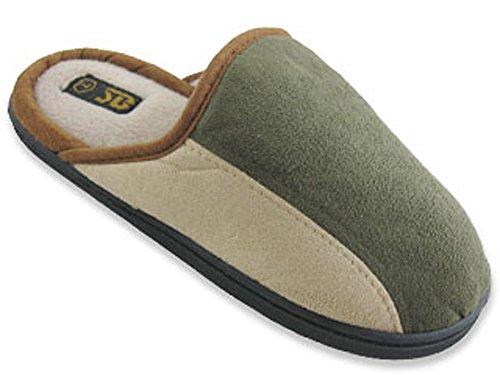 S-6112 Hommes Pantoufles Pantoufles Diapositive Maison Faux Suède Chaud Rembourré Chaussures Semelle 3 Couleurs, Noir, Marron, Vert Dk. Vert / Beige
