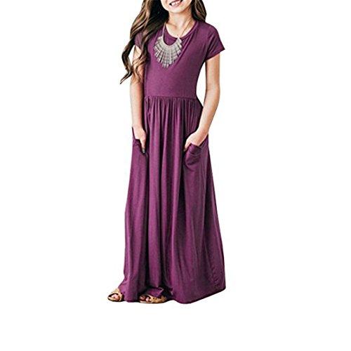Summer Colours - ZHANGVIP Little Baby Girls Solid Color Short Sleeve Dress Kids Sundress Summer Evening Party Beach Long Skirt 3-9Y (4T, Purple)