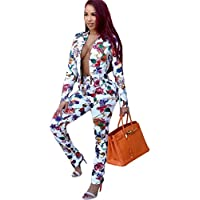Womens Sexy 2 Pieces Floral Prinetd Blazer Jackets Bodycon Pants Party Clubwear Tracksuit Suit Set