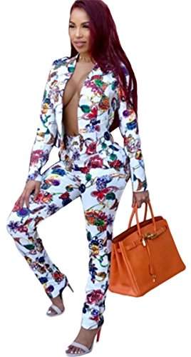 Womens Sexy 2 Pieces Floral Prinetd Blazer Jackets Bodycon Pants Party Clubwear Tracksuit Suit Set (Club Jacket 2)