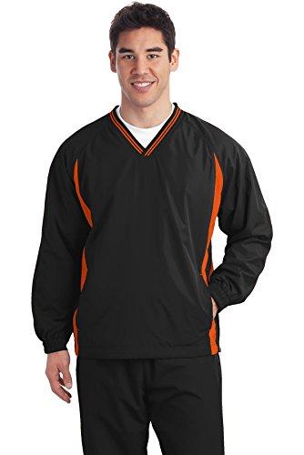 Sport-Tek Tall Tipped V-Neck Raglan Wind Shirt 4XLT Graphite Grey/ White