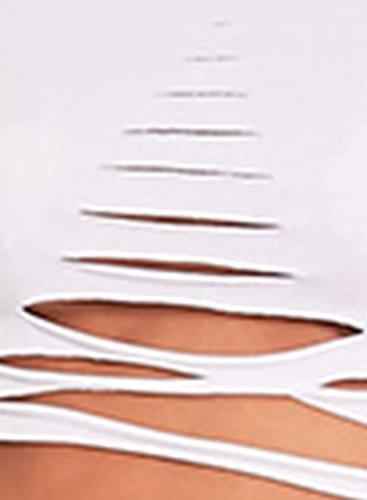 corta con para lisa manga mujer Achicgirl rasgada corta de Camiseta de manga qYvxtOnww4