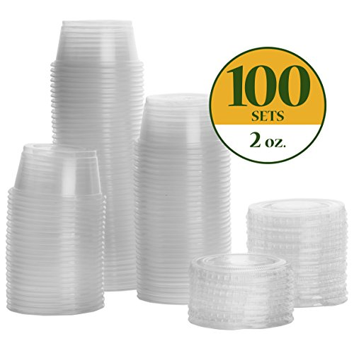 2 oz. Plastic Disposable Portion Cups, Souffle Cups, Jello Shot Cups - With Lids [100 Pack]