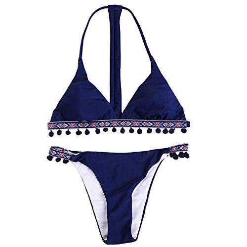Marosoniy Women Two Pieces Bikini- Retro Bohemia Tassel Trim Padded Crochet Contrast Trim Edge Triangle Shape Top Swimwear Swimsuits Sets (S US (2-4), Deep (Contrast Trim Triangle Top)