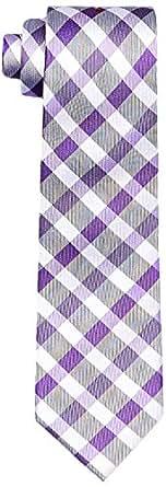 Calvin Klein Men's Silk Tie Purple Plaid Check, Black, One size